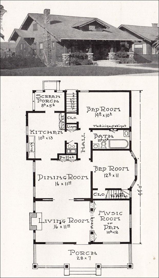 California Craftsman Bungalow House Plan 1918