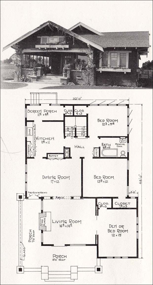 1918 Bungalow House Plan By E W Stillwell Los Angeles
