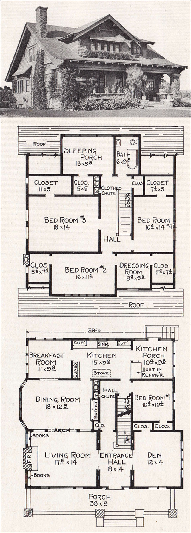 Large California Bungalow Craftsman Style Home Plan 1918 E W Stillwell