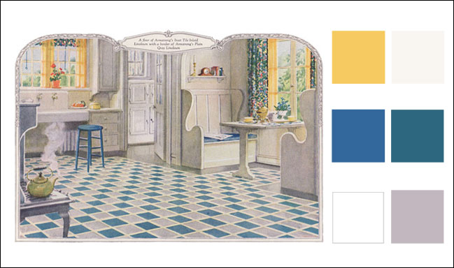 1924 Kitchen Color Scheme Blue Gray White Amp Yellow