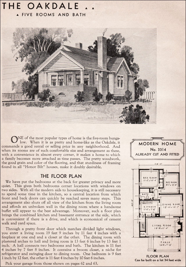 1936 Sears Kit Homes - Oakdale - Modern Bungalow - Small ... on blueprints for houses with open floor plans, mansion plans, i house architecture, i house home, home design floor plans, home builders floor plans, roof plans, split level home floor plans,
