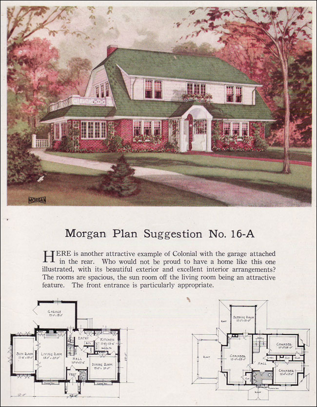 1923 morgan dutch colonial revival clipped gable for Dutch colonial house plans