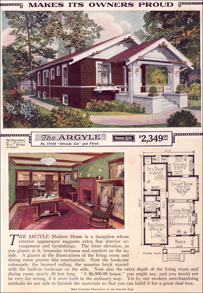 Argyle 1923 Sears Kit Homes Small Craftsman Bungalow