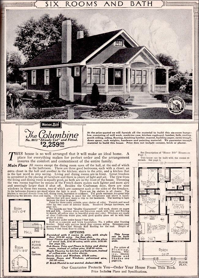 1923 Columbine Kit House Sears Catalog Homes