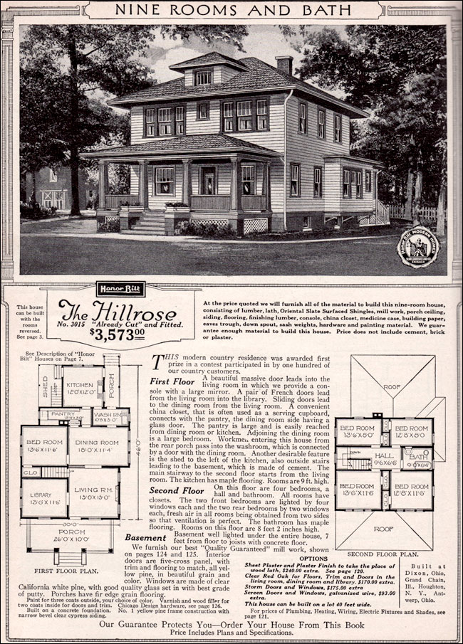 1923 sears modern home kit house hillrose foursquare for Modern foursquare house plans
