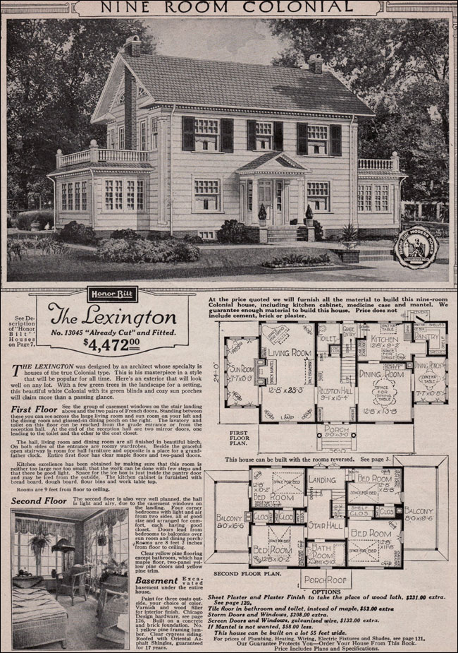 Colonial revival 1923 sears kit house classic side for Old school house plans