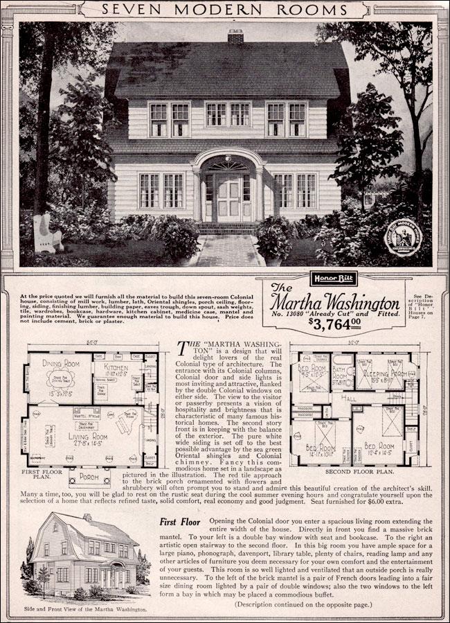 Martha Washington Dutch Colonial Revival Kit House Plan