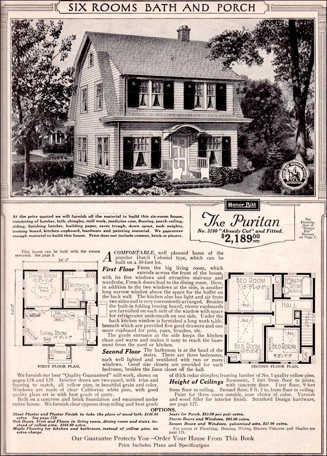 1923 Sears Kit Home The Puritan Honor Bilt Modern