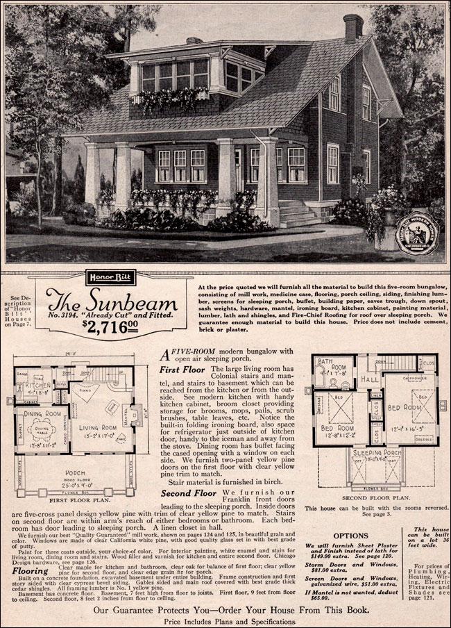 1923 Sears Modern Home Kit House Sunbeam Craftsman