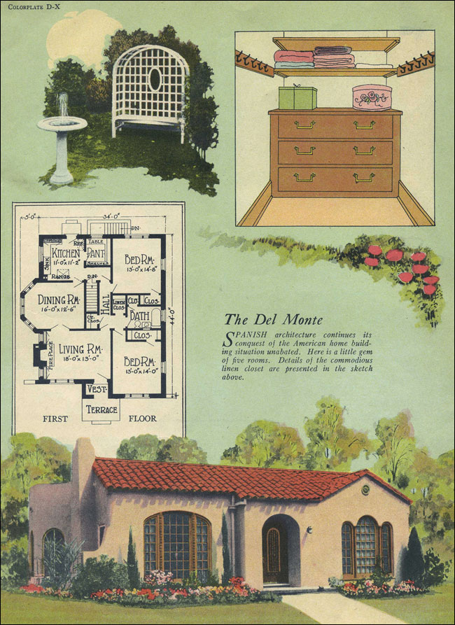 Del monte spanish revival william a radford tile for Spanish bungalow house plans