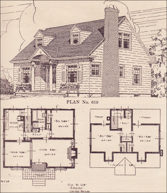 Colonial revival cape cod house plans the portland for 1950s cape cod house plans