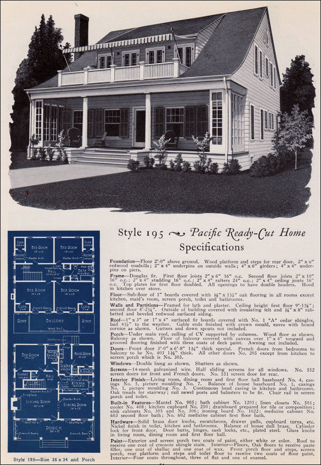 Colonial Revival Bungalow - 1925 No. 195 - Pacific Ready ...