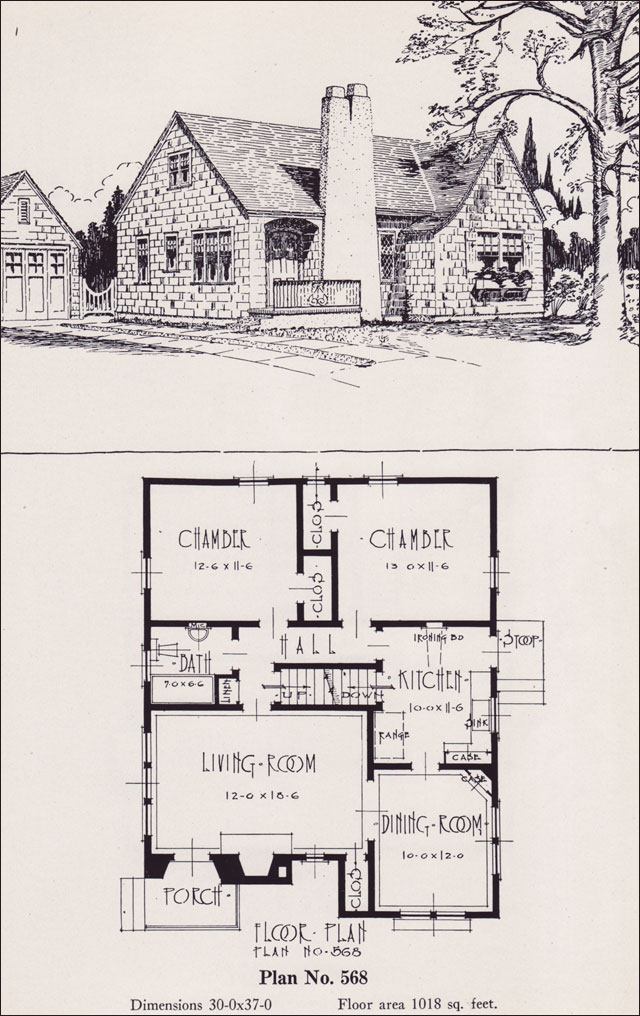 1926 Universal Plan Service No 568 Modern English Revival Cottage House Plans Portland