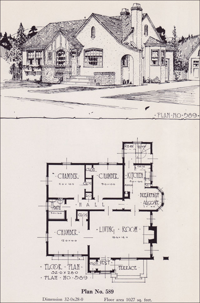 1926 universal plan service no 589 english tudor for Tudor style floor plans