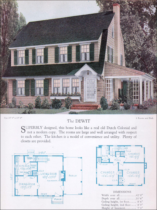 Dutch colonial revival floor plans for Dutch colonial house plans