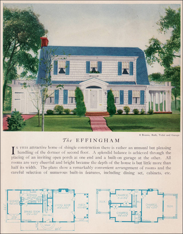 The 1929 effingham dutch colonial revival attached for Antique colonial house plans