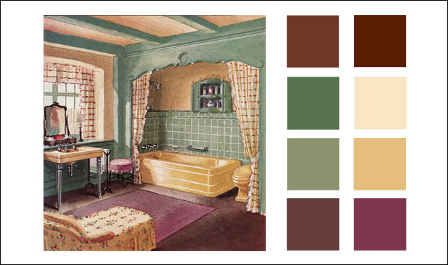 1930 crane bathroom american residential interiors vintage color schemes for Color palette for interior design