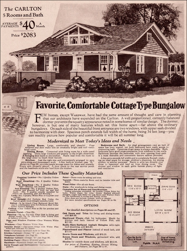 c. 1930 Carlton - Small Bungalow by Montgomery Ward