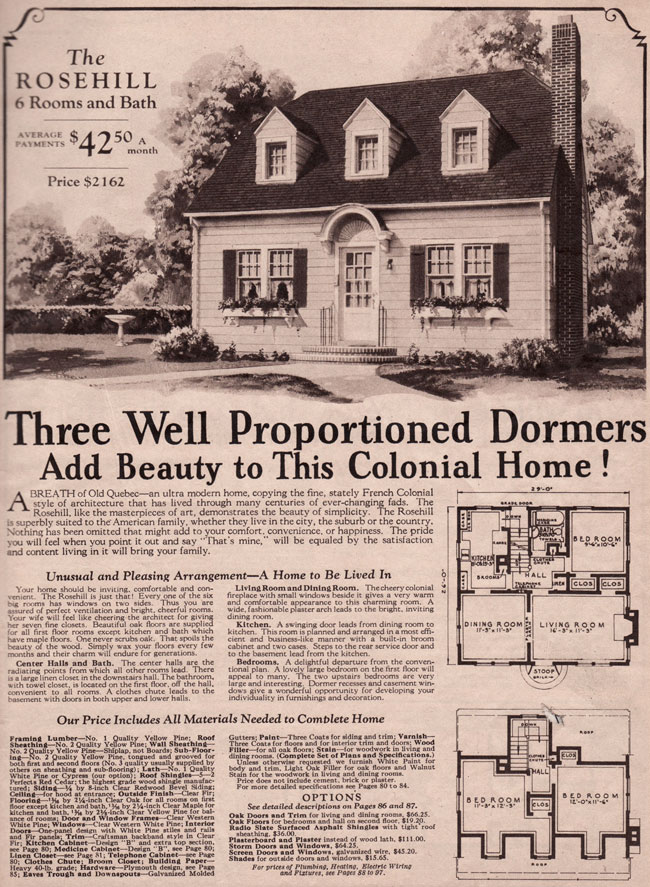 Montgomery Ward Rosehill 1930 French Colonial Or Cape