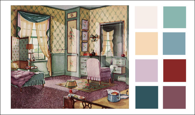 1930s color scheme 1930 green buff and lavender for Bathroom ideas 1920s home