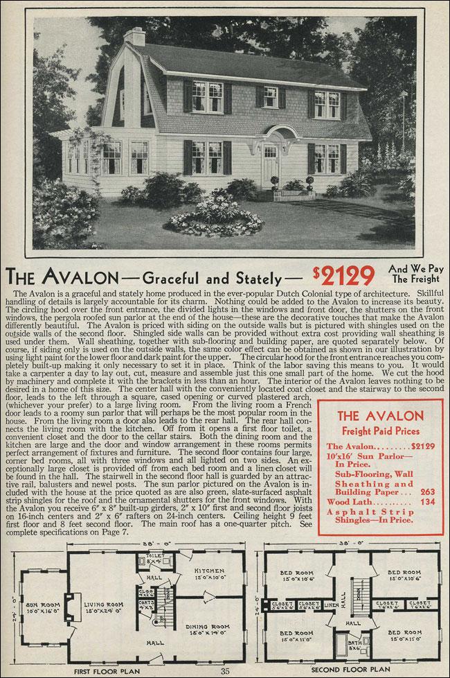 Dutch Colonial Gambrel Roof 1931 Aladdin Avalon Kit