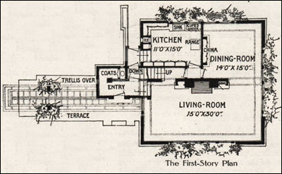 A fireproof house for 5000 frank lloyd wright 1907 for Frank lloyd wright type house plans