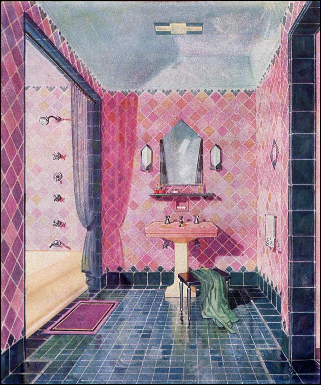 Haute Deco Bath In Midnight Blue And Flamingo Pink