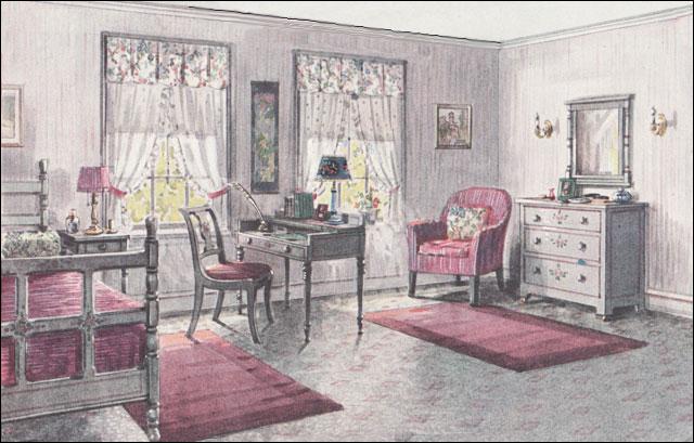 1923 Gray & Pink Bedroom - Bedroom Design of the 1920s - Vintage ...