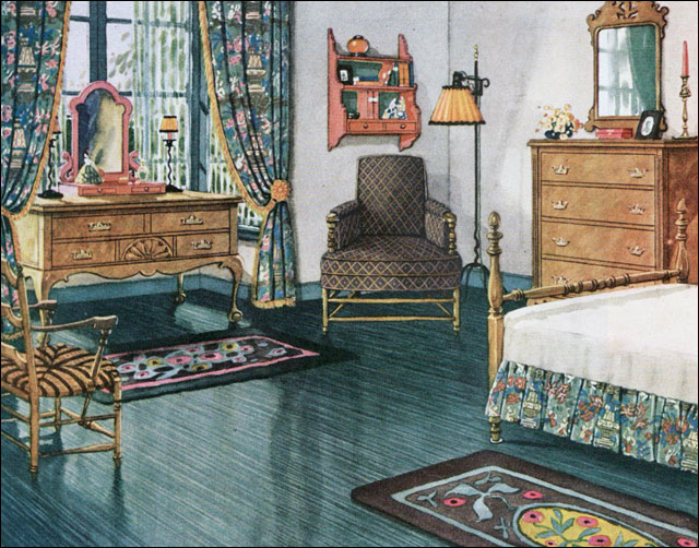 1926 Armstrong Blue Green Bedroom Vintage Bedroom