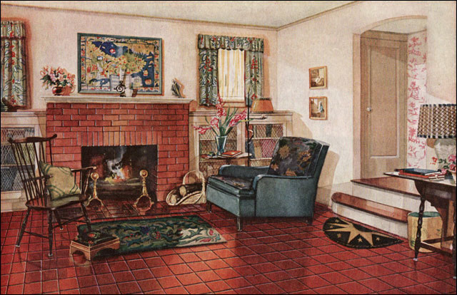 1928 armstrong traditional living room 1920s colonial style red rh antiquehomestyle com