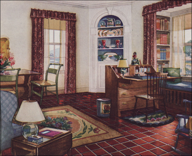 1931 Traditional Style Living Room Armstrong Linoleum 1930s Interior Design