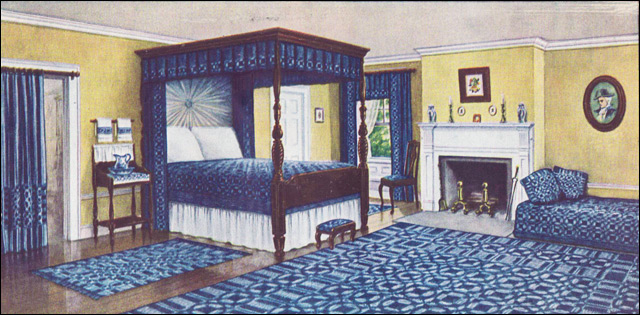 Blue White And Yellow Colonial Bedroom Ladies